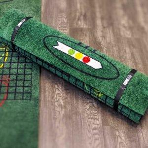 golf training mat, rolls up into a compact design.